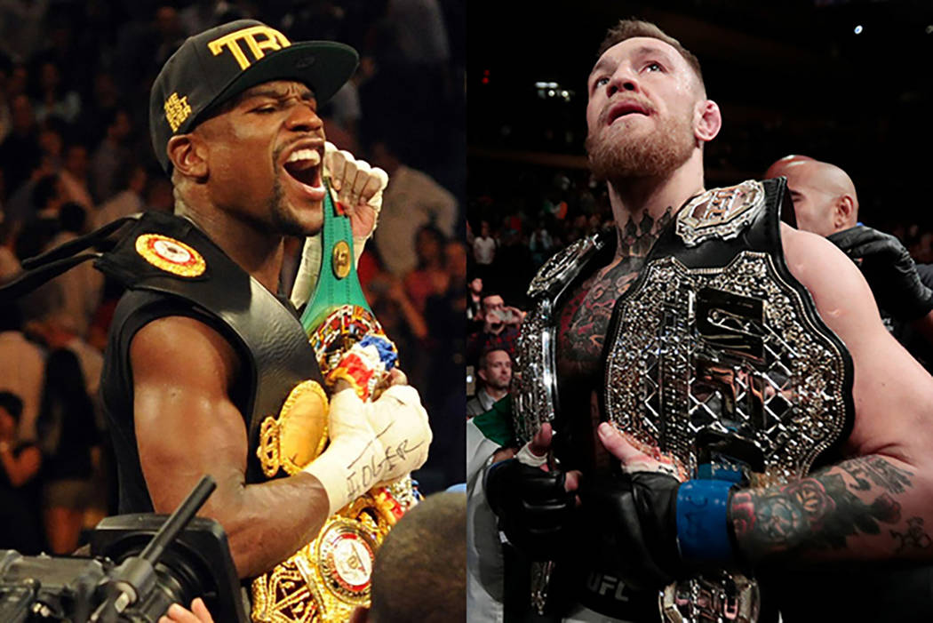 Floyd Mayweather Jr., left, and Conor McGregor. (Review-Journal file photos)
