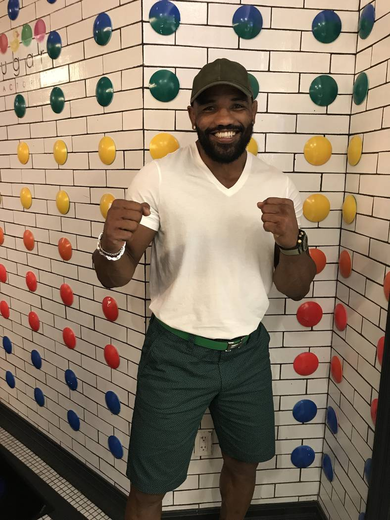 """Freestyle wrestling and UFC fighter Yoel Romero, """"Soldier of God"""" stopped by Sugar Factory American Brasserie at Fashion Show Mall last night (July 9). (Photos courtesy of Sugar Factory Americ ..."""