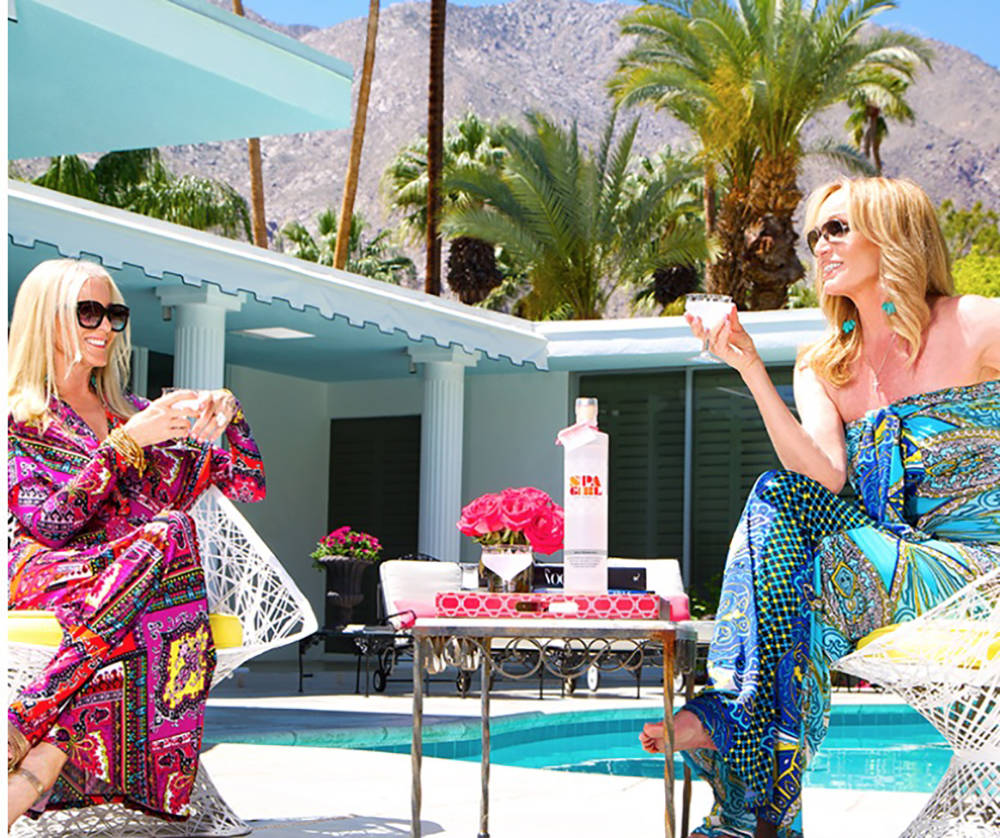 Courtesy Susan Anton, right, and business partner Karen Haines sample the latest Spa Girl Cocktails recipe.