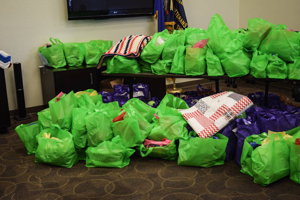 The Humana Charity Crafters' donation includes 130 pieces to be given to the North Las Vegas VA Medical Center and 110 to be given to Fisher House. (Alex Meyer/View) @alxmey