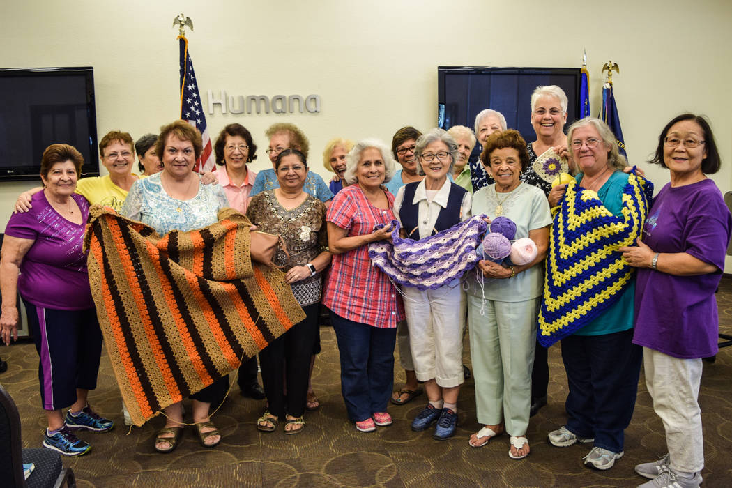 The Humana Charity Crafters meet every Friday from 1-3:30 p.m. at the Henderson Humana location to knit, crochet and quilt hand-made items for charity. (Alex Meyer/View) @alxmey