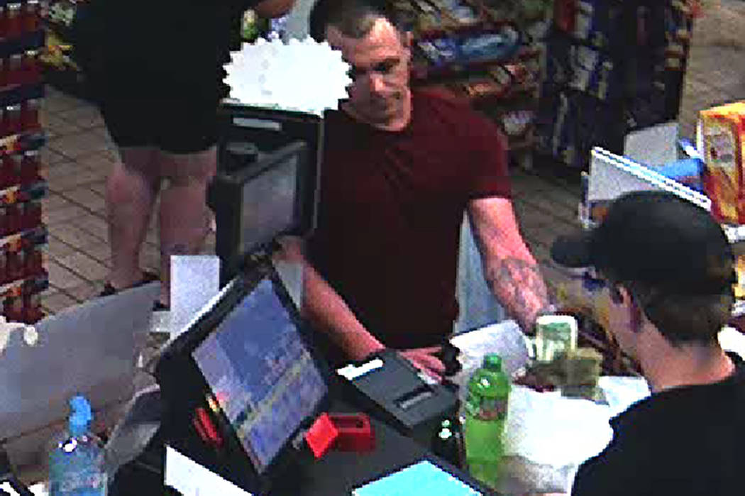Las Vegas police are searching for a man in connection with an armed robbery June 21 at a convenience store near central Las Vegas. (Las Vegas Metropolitan Police Department)