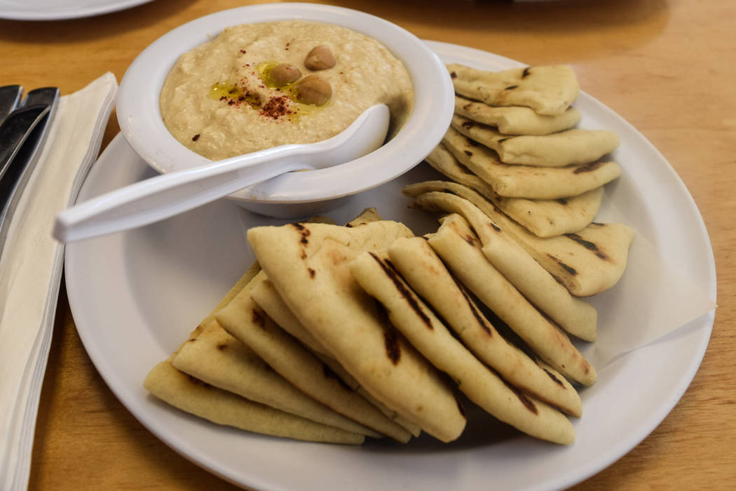 The hummus is served with warm pita bread, garlic and olive oil for $3.95. (Alex Meyer/View) @alxmey