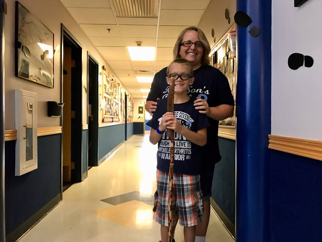 Kim Roden and her son, Kaspar Roden-Riisnaes together at Merryhill Elementary School on Durango Drive. Roden helped organize a swim-a-thon fundraiser with two Merryhill schools that raised over $1 ...