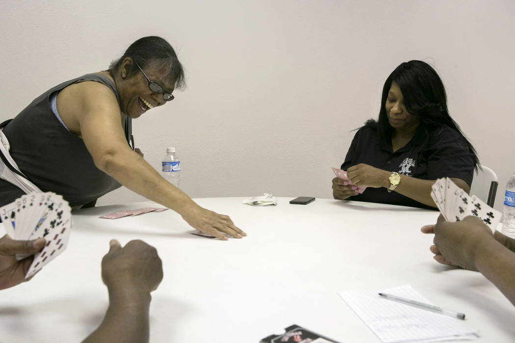 BettyAnn Jones and Elena Grundy play cards in the game room at LoveLife Family Services in Las Vegas, Wednesday, July 12, 2017. Gabriella Angotti-Jones Las Vegas Review-Journal @gabriellaangojo