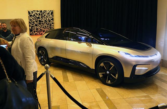 Faraday Future's FF91 vehicle is displayed, Thursday, Jan. 26, 2017, at the Aliante hotel-casino in Las Vegas. (Bizuayehu Tesfaye/Las Vegas Review-Journal) @bizutesfaye