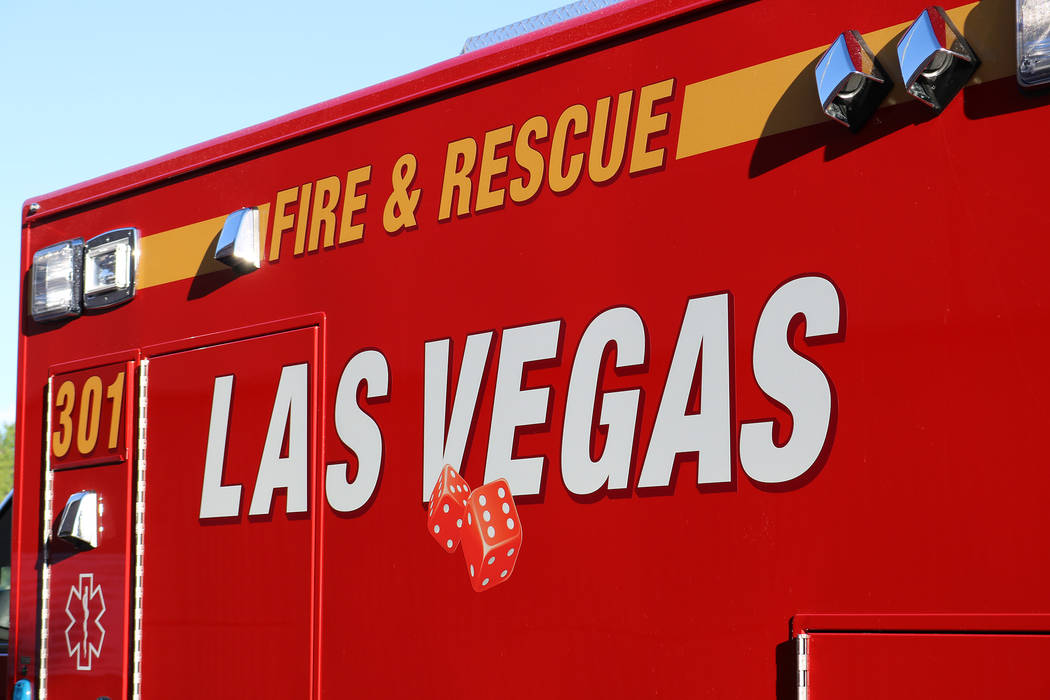 The Las Vegas Fire Department is responding to the area of West Sahara Avenue and Richfield Boulevard because of wire and power lines down in the area. (Rochelle Richards/Las Vegas Review-Journal) ...