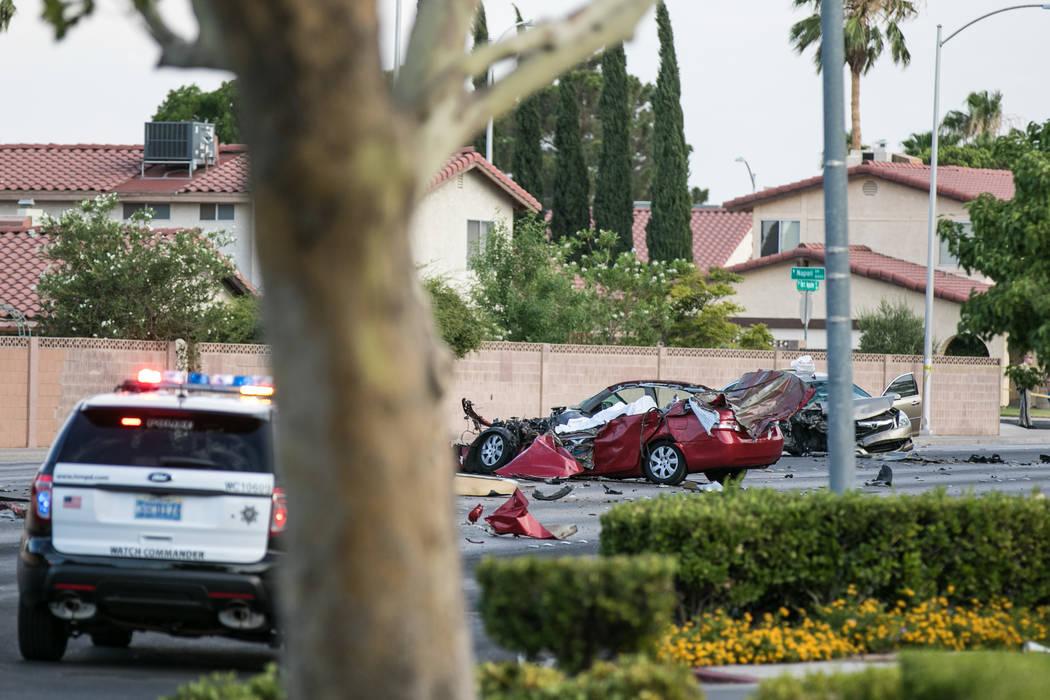 Las Vegas police investigate a fatal crash involving a stolen pickup truck near Charleston Boulevard and Fort Apache Road on Wednesday, July 5, 2017. Morgan Lieberman Las Vegas Review-Journal