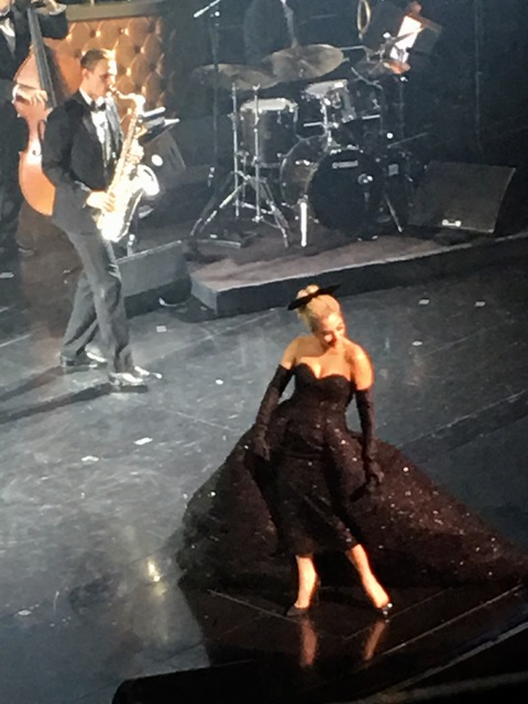 Lady Gaga sashays off the stage to close her appearance at Encore Theater on Friday, Dec. 30 2016. (John Katsilometes/Las Vegas Review-Journal)