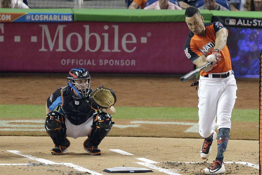 Miami Marlins' Giancarlo Stanton competes during the MLB baseball All-Star Home Run Derby, Monday, July 10, 2017, in Miami. (Lynne Sladky/AP)