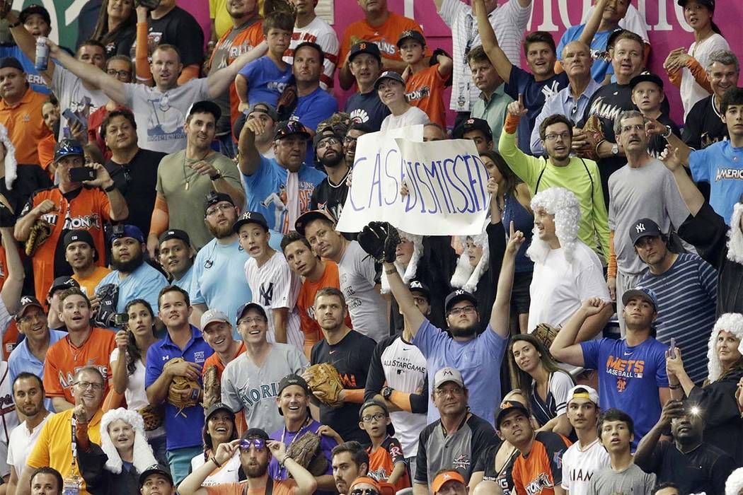 Fans react to New York Yankees' Aaron Judge's performance during the MLB baseball All-Star Home Run Derby, Monday, July 10, 2017, in Miami. (Lynne Sladky/AP)