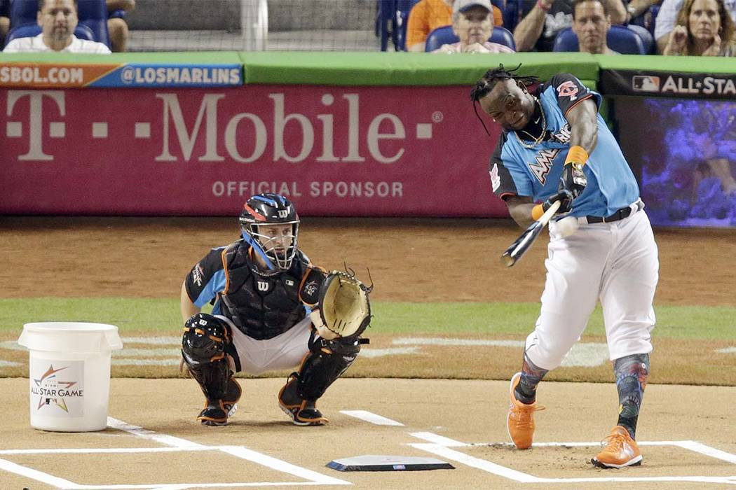 Minnesota Twins' Miguel Sano hits a home run during the MLB baseball All-Star Home Run Derby, Monday, July 10, 2017, in Miami. (Lynne Sladky/AP)