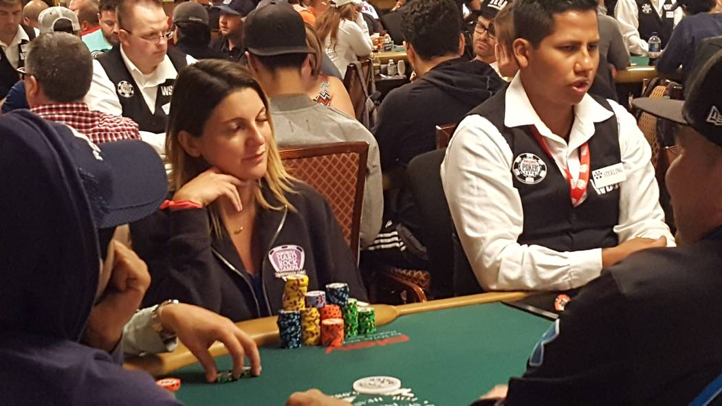Natasha Mercier spent much of Monday, July 10, 2017, stacking chips and was in 10th place at the end of Day 1C of the World Series of Poker's $10,000 buy-in No-limit Texas Hold 'em World Champio ...