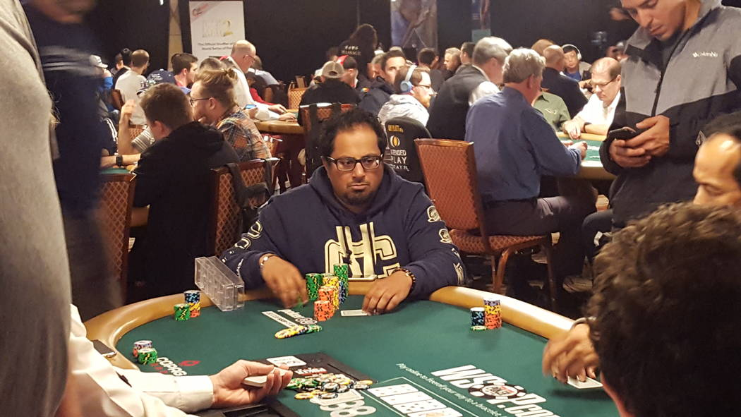 Canada's Jason Mann is seventh in chips after Day 1C of the World Series of Poker's $10,000 buy-in No-limit Texas Hold 'em World Championship in seventh place, Monday, July 10, 2017. (David Sc ...