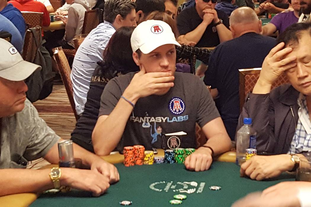 Eric Nathan, center, a blogger for the website Barstool Sports, was near the chip lead throughout Monday, July 10, 2017, and finished Day 1C of the World Series of Poker's $10,000 buy-in No-limi ...