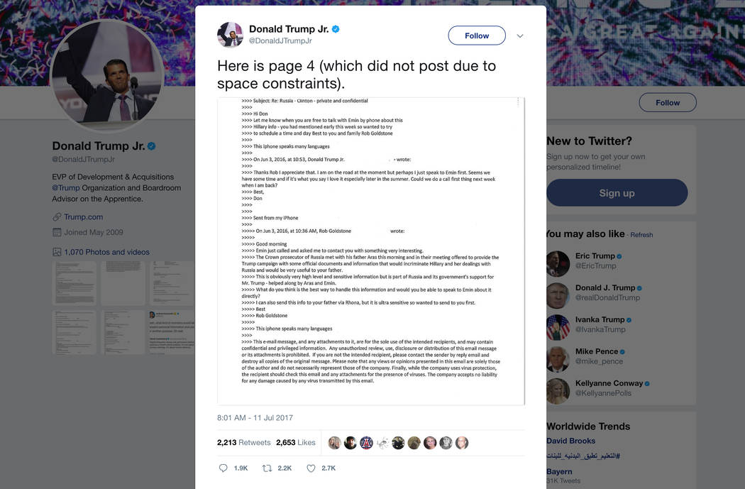This screenshot shows a tweet posted Tuesday, July 11, 2017, by Donald Trump Jr. on his Twitter account, in which he reveals an email chain with publicist Rob Goldstone in June 2016. (Twitter via AP)