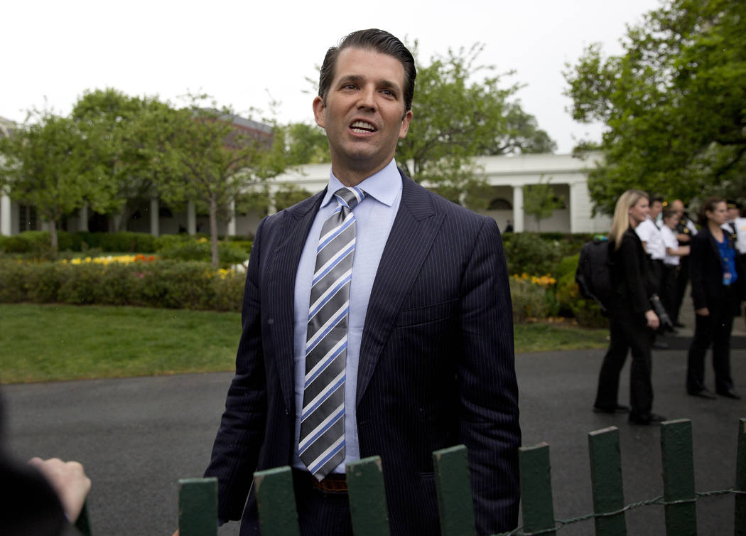 FILE - In this April 17, 2017, file photo, Donald Trump Jr., the son of President Donald Trump, speaks to media during the annual White House Easter Egg Roll on the South Lawn of the White House i ...