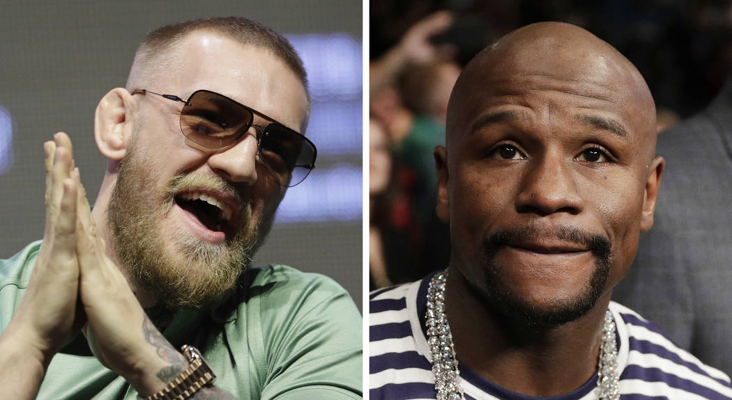 FILE - At left, in a July 7, 2016, file photo, Conor McGregor speaks during a UFC 202 mixed martial arts news conference, in Las Vegas. At right, in a Jan. 28, 2017, file photo, boxer Floyd Maywea ...