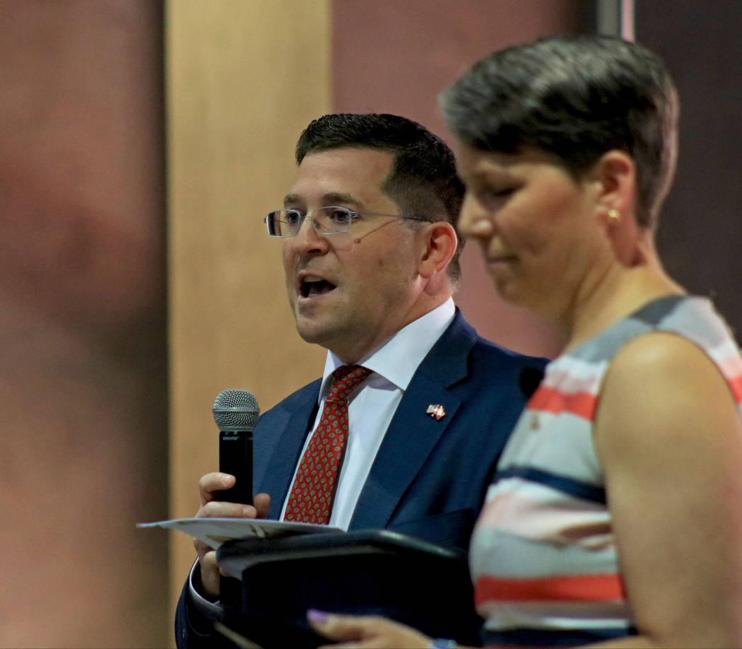 Eric LaVine, left, and Suzi LaVine, at the Clark County Government Center during the Office of Workforce Innovations' conference on workforce development, Friday, July 14, 2017. Gabriella Benavide ...