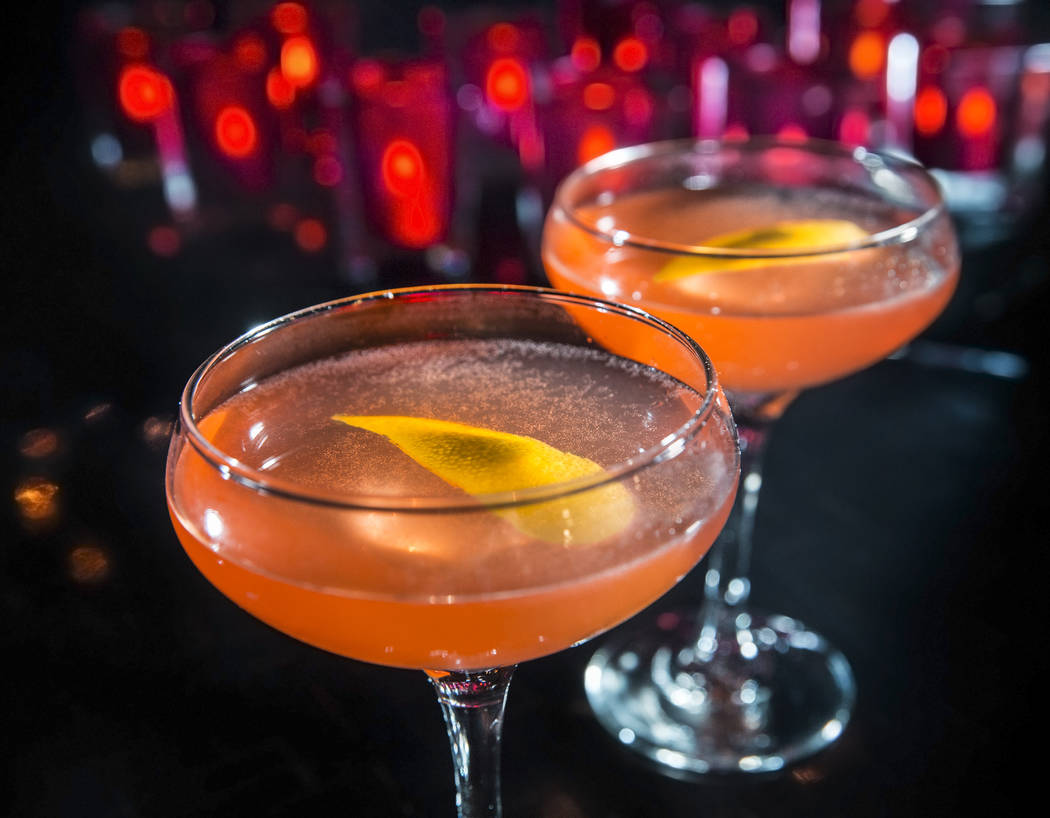 Sink the Pink, with pink peppercorn and pear gin, Aperol, lemon juice, simple syrup, Peychauds bitters and pink peppercorns on Tuesday, July 11, 2017, at Sand Dollar Lounge, in Las Vegas. Benjamin ...