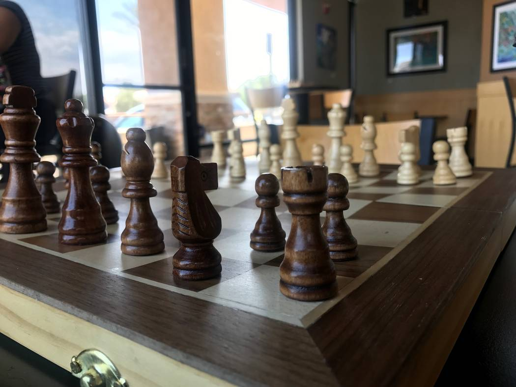 A chess board rests on a table on July 7 at Chess House Cafe, 6430 W. Lake Mead Blvd. #160. (Kailyn Brown/View) @KailynHype