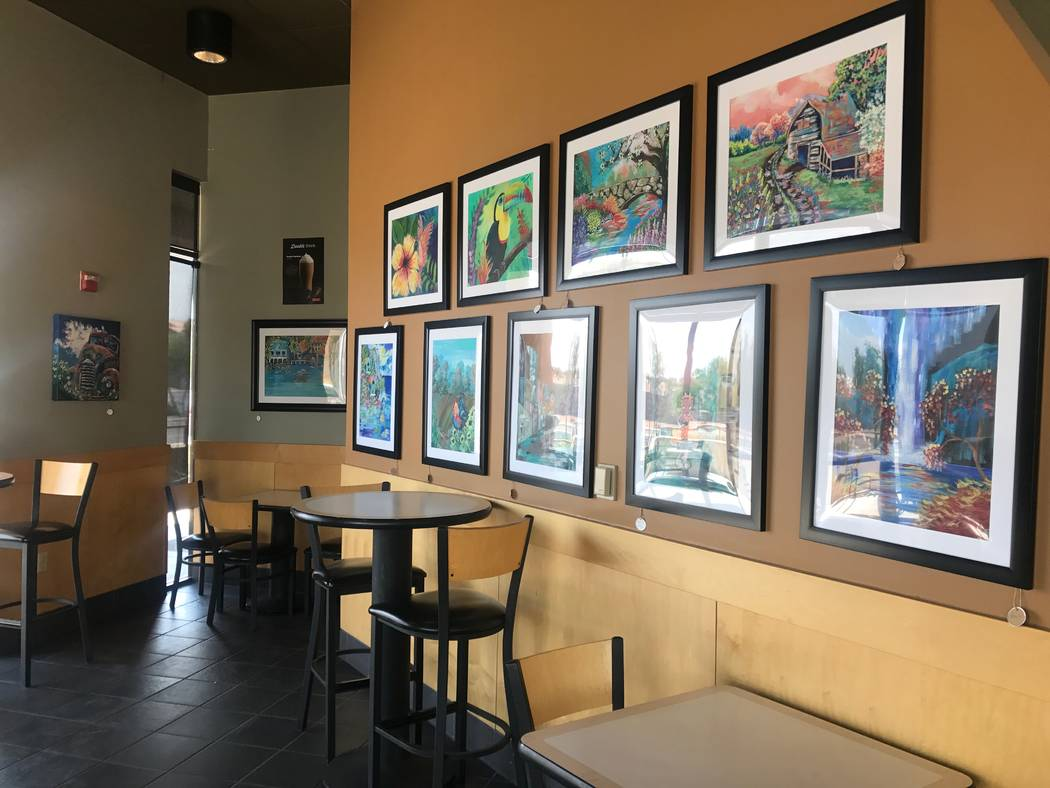 Art that was made by local artists is displayed on July 7 at Chess House Cafe, 6430 W. Lake Mead Blvd. #160. (Kailyn Brown/View) @KailynHype