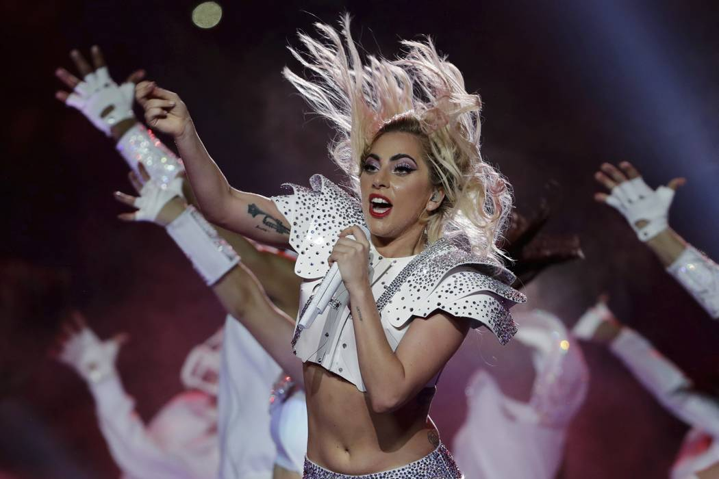 Lady Gaga performs during the halftime show of the NFL Super Bowl 51 football game between the New England Patriots and the Atlanta Falcons in Houston on Feb. 5, 2017. (Matt Slocum/AP, File)