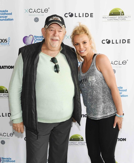 Robin Leach and Britney Spears at X Cycle Oct. 27, 2016, in Boca Park. (Courtesy)