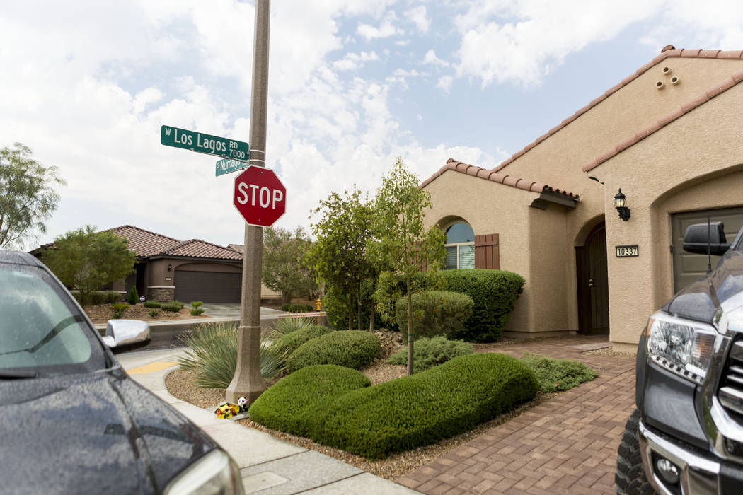 The home of John Lunetta, 10337 S. Numaga Road, where the bodies were found Monday night in Las Vegas, Tuesday, July 11, 2017. Las Vegas police said a man fatally shot his girlfriend, their baby a ...