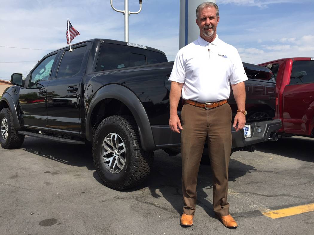 Friendly Ford Friendly Ford sales manager Art Toombs is seen with a 2017 Ford 150 Raptor at the dealership at 660 N. Decatur Blvd.