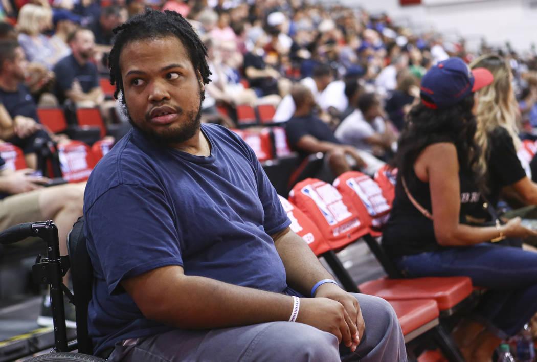 Shon Darby at his courtside spot during the NBA Summer League at the Cox Pavilion in Las Vegas on Wednesday, July 12, 2017. Chase Stevens Las Vegas Review-Journal @csstevensphoto