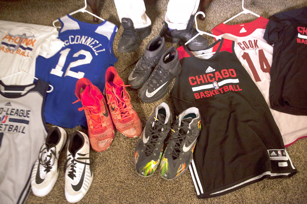 Shon Darby-McConnell's collection of basketball jerseys and shoes on Thursday, July 14, 2017, at his home in Las Vegas. Rachel Aston Las Vegas Review-Journal @rookie__rae
