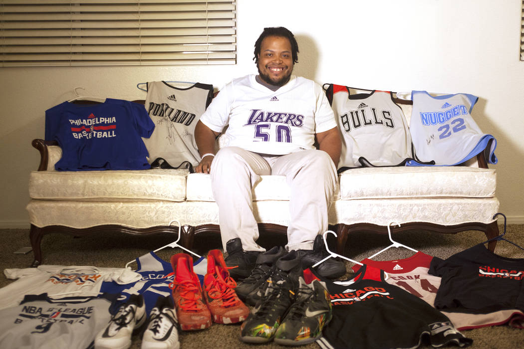 Shon Darby-McConnell and his collection of basketball jerseys and shoes on Thursday, July 14, 2017, at his home in Las Vegas. Rachel Aston Las Vegas Review-Journal @rookie__rae