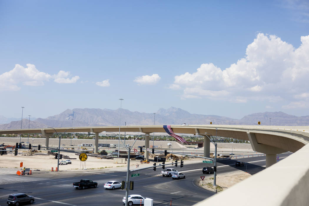 The Centennial Bowl, a 60-foot-tall, half-mile-long flyover bridge linking westbound 215 Beltway and southbound U.S. Highway 95, opens in northwest Las Vegas, Wednesday, July 12, 2017. (Elizabeth  ...