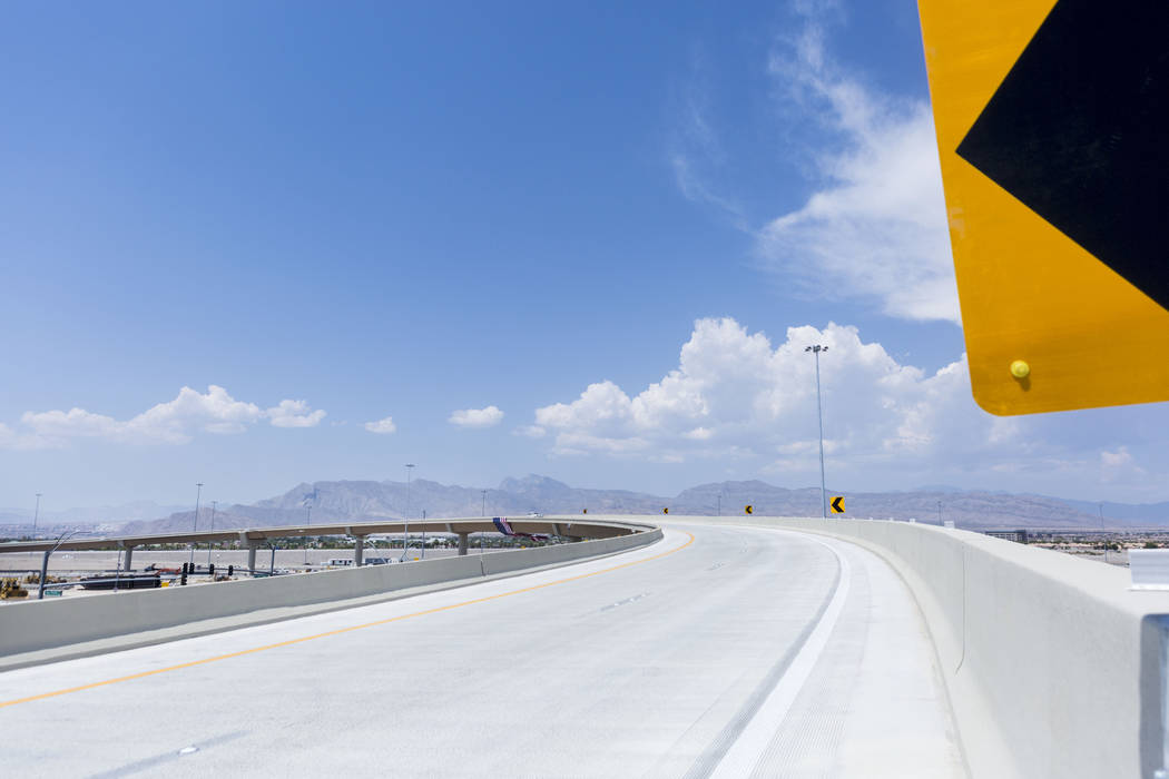 The Centennial Bowl, a 60-foot-tall, half-mile long flyover bridge linking westbound 215 Beltway and southbound U.S. Highway 95, opens in northwest Las Vegas, Wednesday, July 12, 2017. (Elizabeth  ...