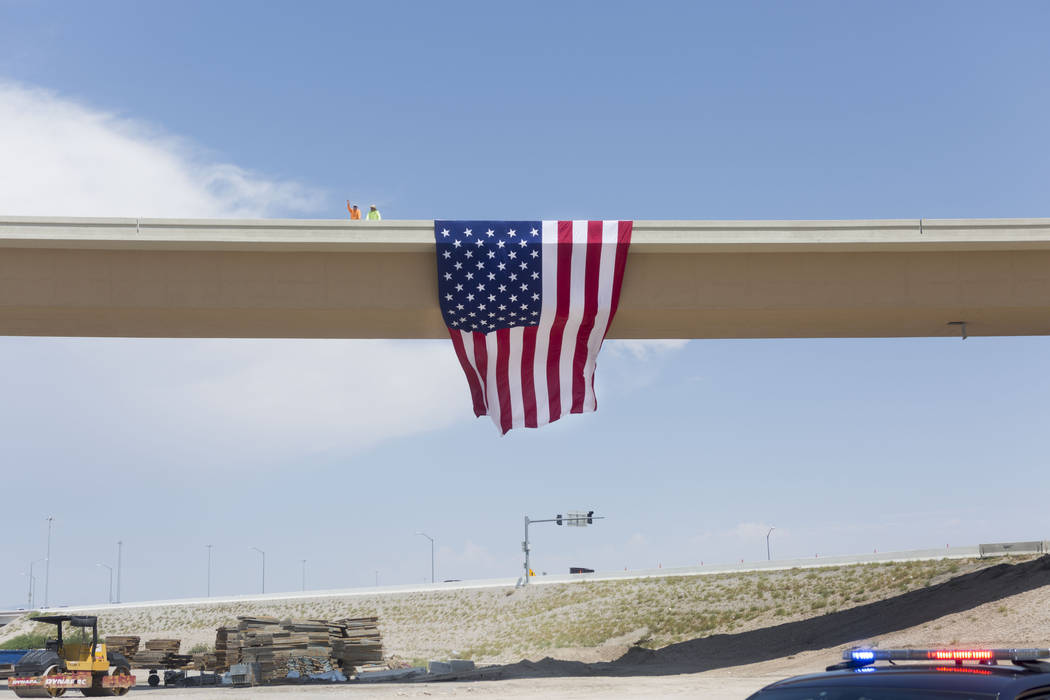 The Centennial Bowl, a 60-foot-tall, half-mile-long flyover bridge linking westbound 215 Beltway and southbound U.S. Highway 95 opens in northwest Las Vegas, Wednesday, July 12, 2017. (Elizabeth B ...