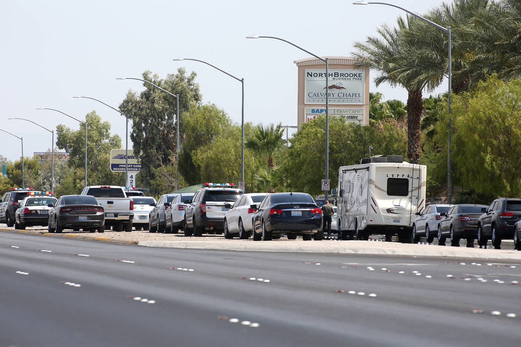 A heavy presence of officers are seen on North Rancho Drive between North Jones Boulevard and West Craig Road where an officer involved shooting occurred on Tuesday, July 11, 2017, in Las Vegas. ( ...
