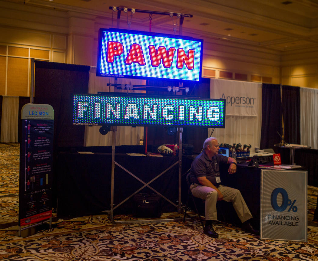 A booth advertising LED signs at Pawn Expo at The Mirage on Wednesday, July 12, 2017.  Patrick Connolly Las Vegas Review-Journal @PConnPie