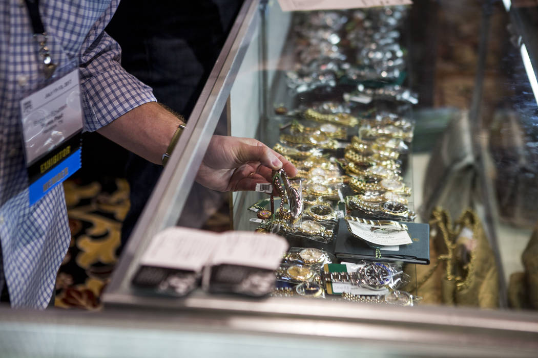 A selection of watches at the Times Past booth at Pawn Expo at The Mirage on Wednesday, July 12, 2017.  Patrick Connolly Las Vegas Review-Journal @PConnPie