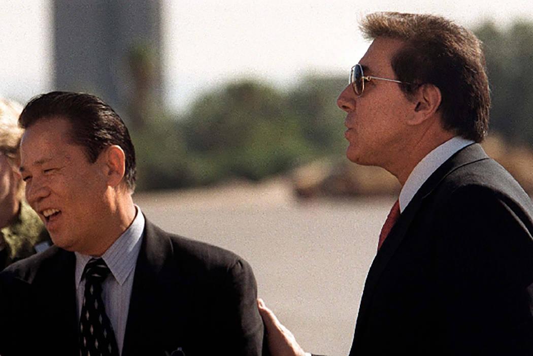 Kazuo Okada, left, and Steve Wynn in 2002. Las Vegas Review-Journal file