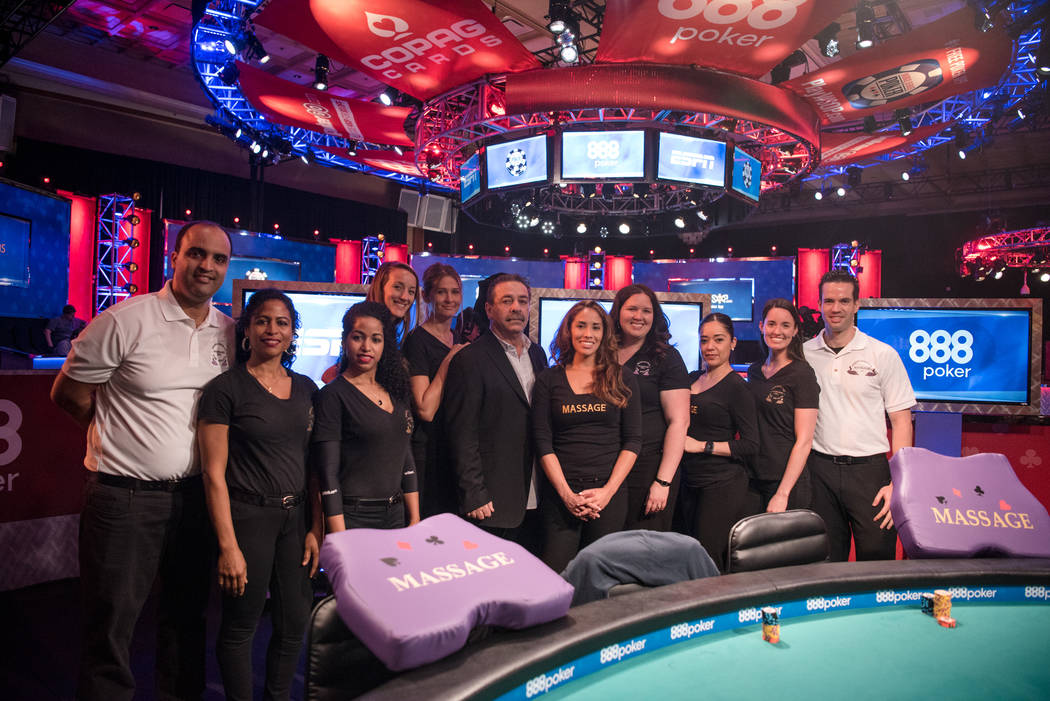Professional Massage team with Rolando Coro, the owner, at WSOP on Wednesday, July 12, 2017, at Rio Convention Center in Las Vegas. Morgan Lieberman Las Vegas Review-Journal