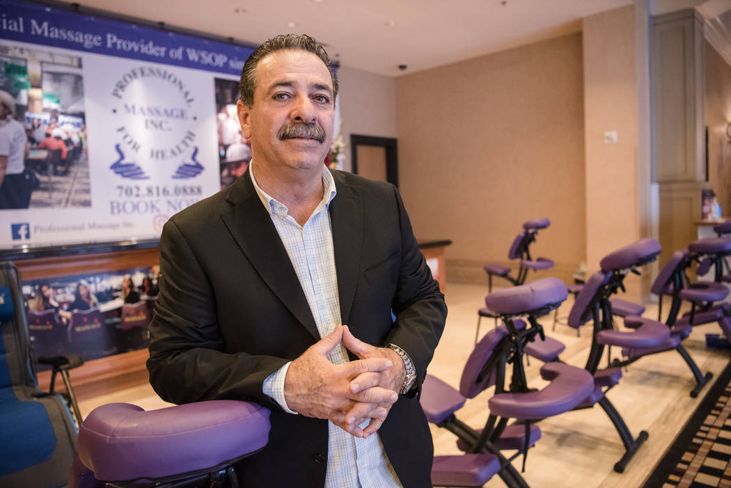 Rolando Coro, the owner of Professional Massage, at WSOP on Wednesday, July 12, 2017, at Rio Convention Center in Las Vegas. Morgan Lieberman Las Vegas Review-Journal