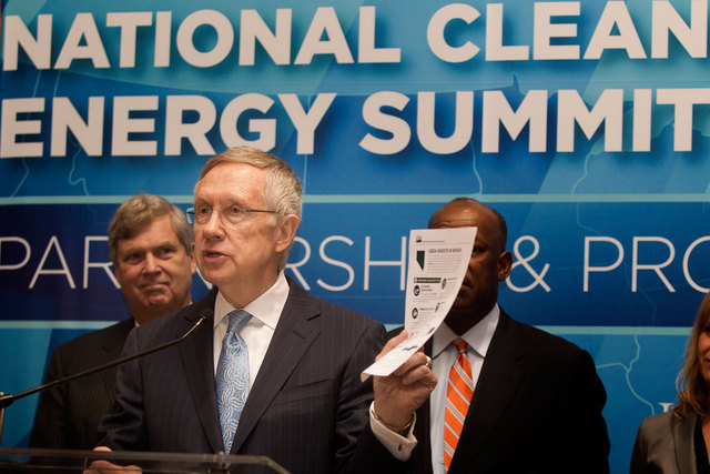 Then-U.S. Sen. Harry Reid speaks during a press conference Thursday, Sept. 4, 2014 announcing  the Fulcrum BioEnergy Inc. Sierra BioFuels project  during National Clean Energy Summit 7.0. After a  ...