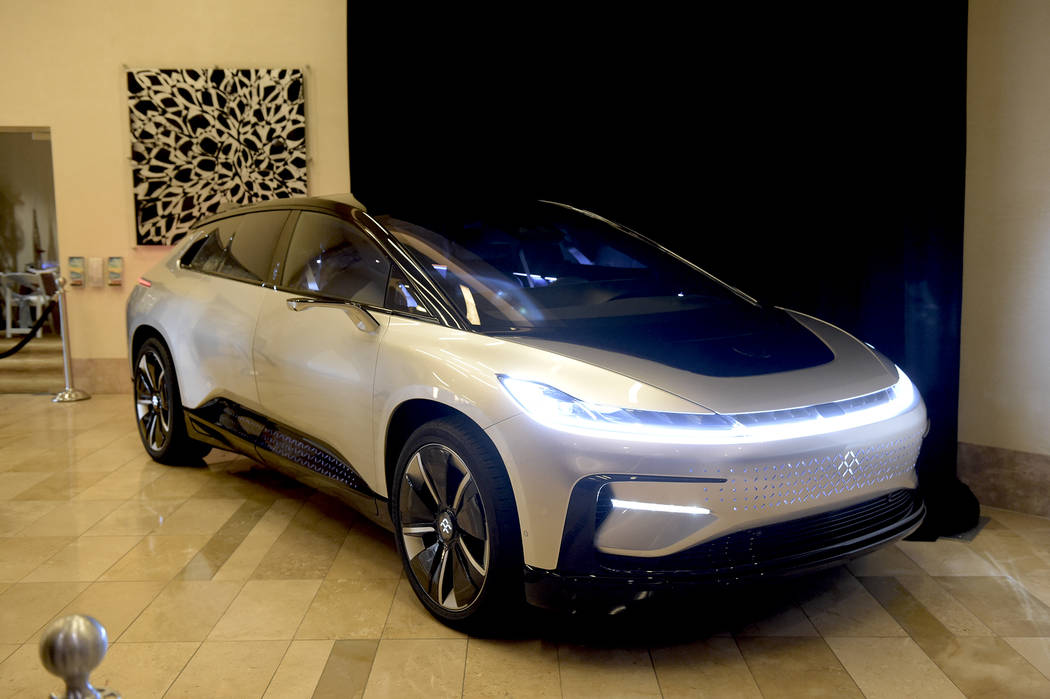 The new Faraday FF91 electric car on display at the North Las Vegas State of the City address at the Aliante hotel-casino on Thursday, Jan. 26, 2017. (Glenn Pinkerton/Las Vegas News Bureau)