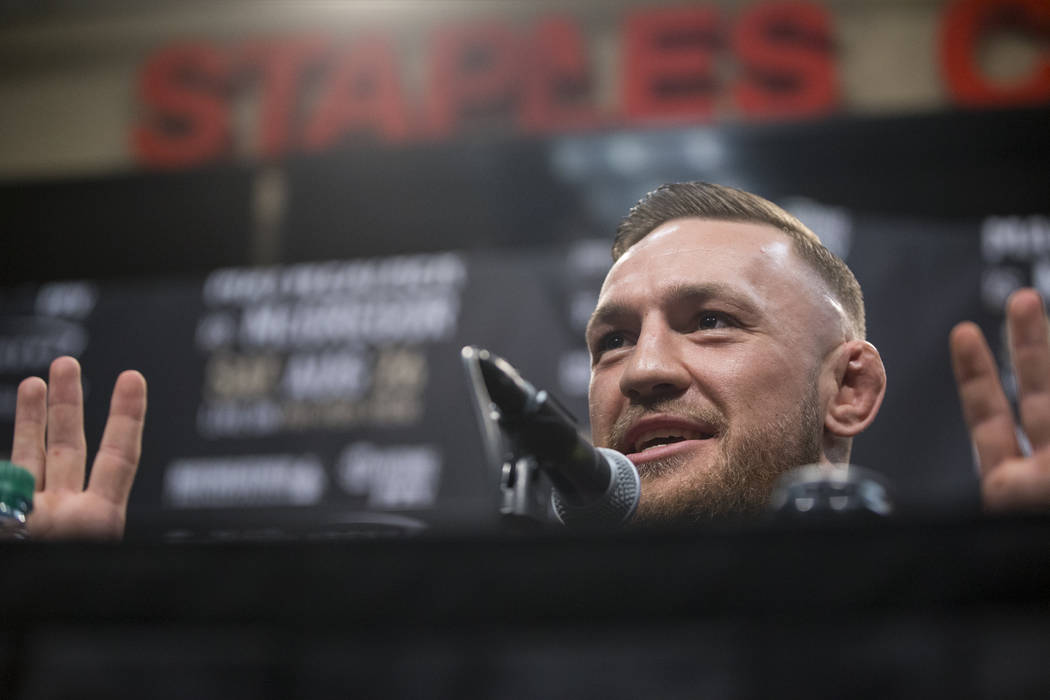 UFC fighter Conor McGregor during a world tour event stop to promote his upcoming fight against Boxer Floyd Mayweather Jr., at Staples Center in Los Angeles, Calif., on Tuesday, July 11, 2017. Eri ...