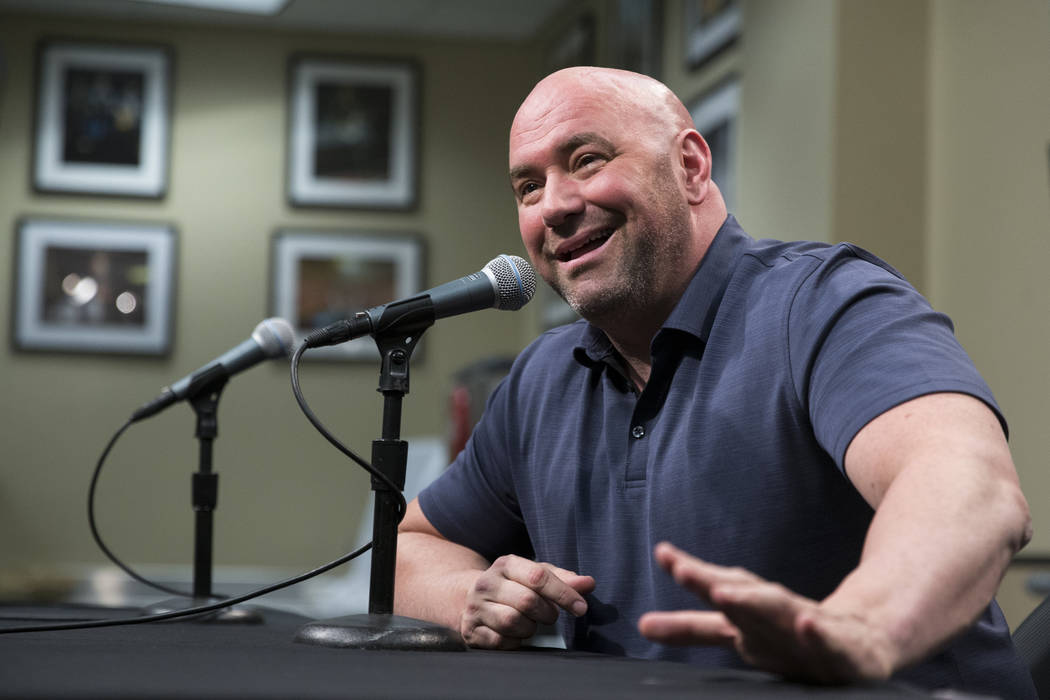 UFC President Dana White during a press conference prior to the Floyd Mayweather Jr. and UFC fighter Conor McGregor world tour event to promote their upcoming fight, at Staples Center in Los Angel ...