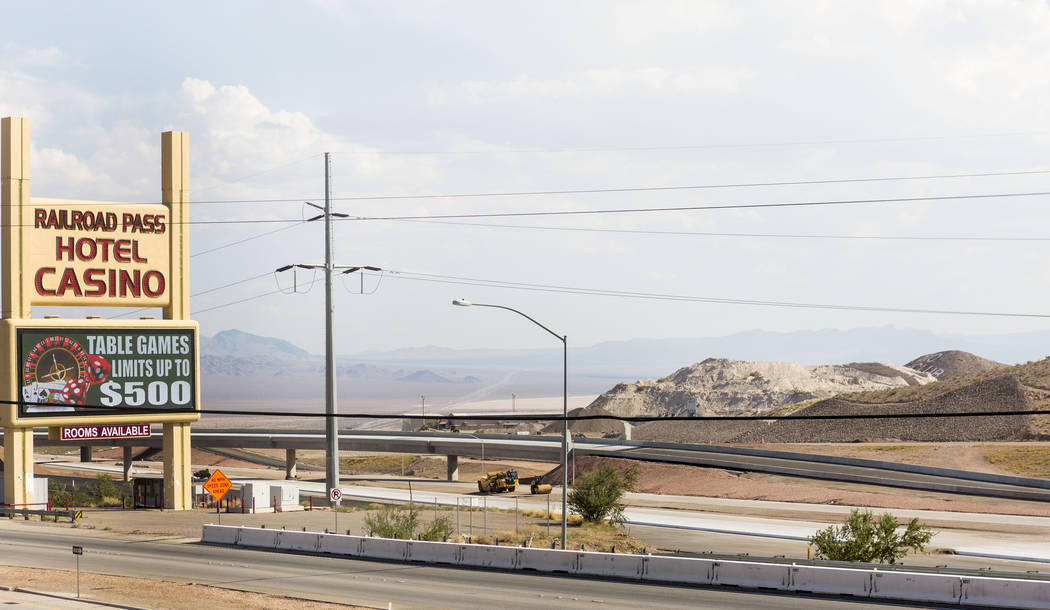 A new 600-foot-long flyover bridge that connects Interstate 11 with the overlapping U.S. Highways 93 and 95 adjacent to Railroad Pass hotel-casino in Henderson, Wednesday, July 12, 2017. Drivers w ...
