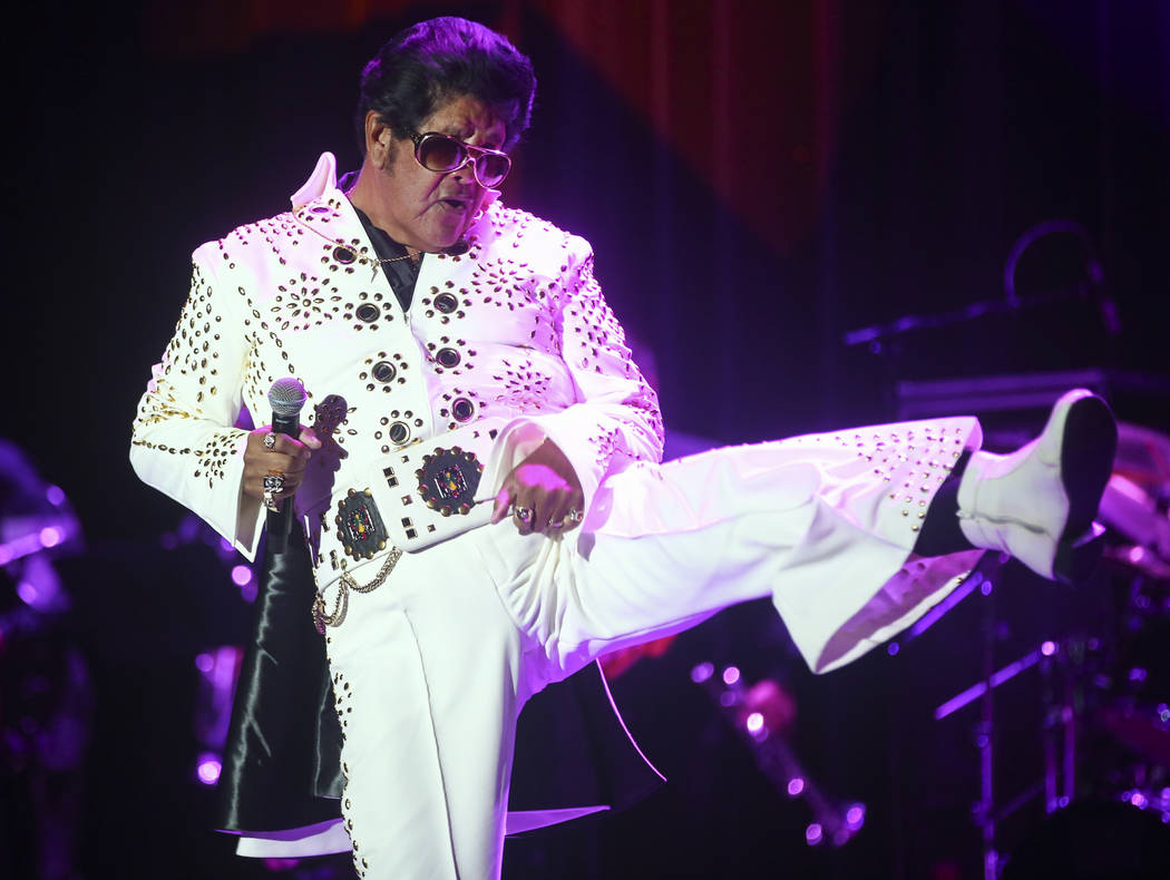 Elvis impersonator Bob Castro performs during the tribute artist contest at the Images of the King festival at Sam's Town in Las Vegas on Saturday, July 15, 2017. Chase Stevens Las Vegas Review-Jo ...