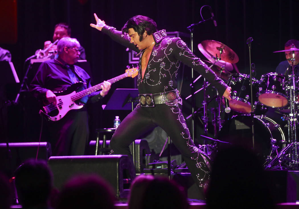 Elvis impersonator Brad Mitchell performs during the tribute artist contest at the Images of the King festival at Sam's Town in Las Vegas on Saturday, July 15, 2017. Chase Stevens Las Vegas Review ...