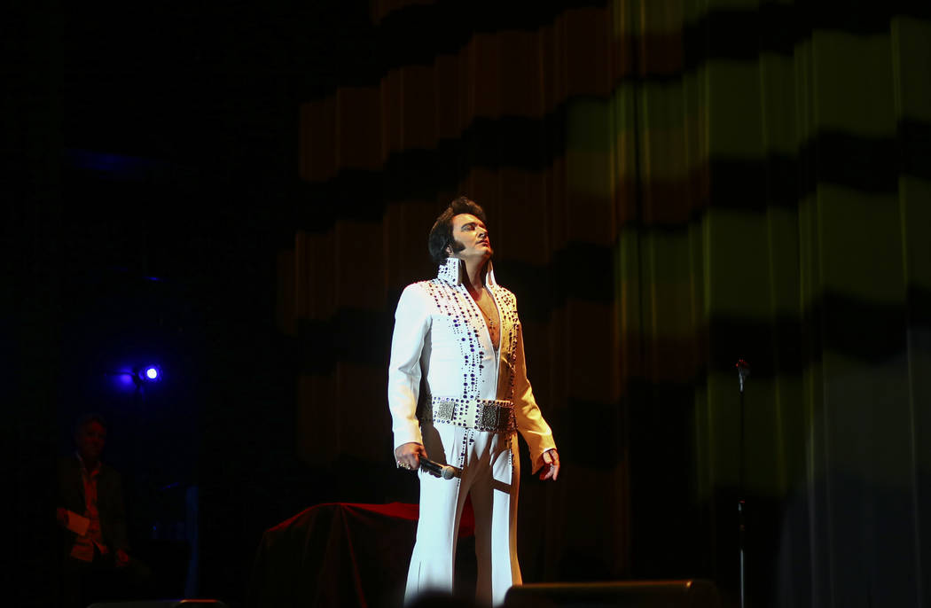 Elvis impersonator Tim Hendry performs during the tribute artist contest at the Images of the King festival at Sam's Town in Las Vegas on Saturday, July 15, 2017. Chase Stevens Las Vegas Review-Jo ...